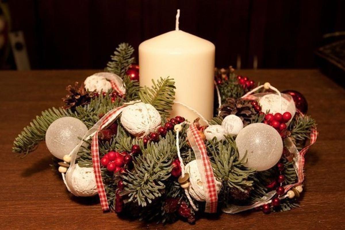 сделать новогодний венок +своими руками пошагово