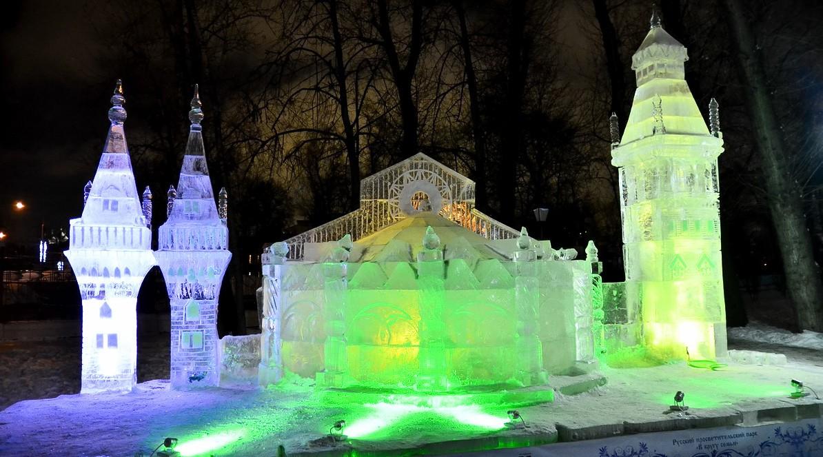 ледяные скульптуры в Москве Эрмитаж