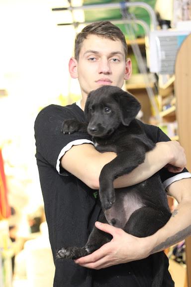 парень с щенком